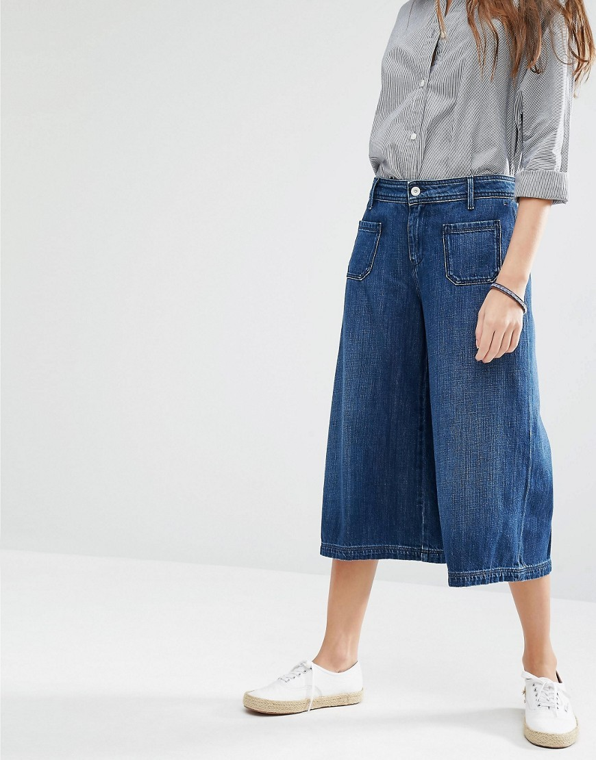 Culotte Jeans Uniform Indigo - length: standard; pattern: plain; waist: mid/regular rise; style: wide leg; predominant colour: denim; occasions: casual, creative work; fibres: cotton - 100%; texture group: linen; pattern type: fabric; pattern size: standard (bottom); season: a/w 2016; wardrobe: highlight