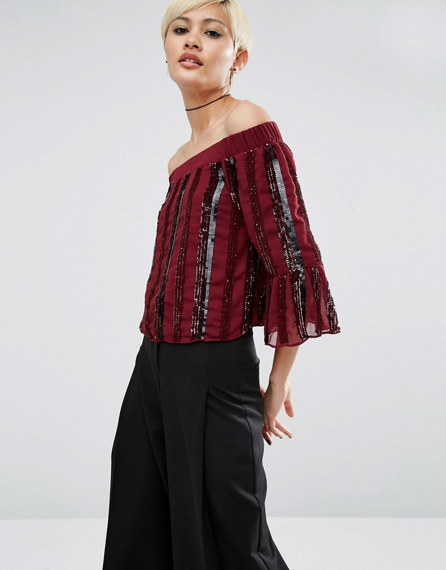 Off Shoulder Top In Sequin Stripe Oxblood - neckline: off the shoulder; pattern: vertical stripes; predominant colour: burgundy; secondary colour: black; occasions: evening; length: standard; style: top; fibres: polyester/polyamide - 100%; fit: body skimming; sleeve length: 3/4 length; sleeve style: standard; texture group: ornate wovens; pattern type: fabric; pattern size: standard; embellishment: sequins; multicoloured: multicoloured; season: a/w 2016; wardrobe: event