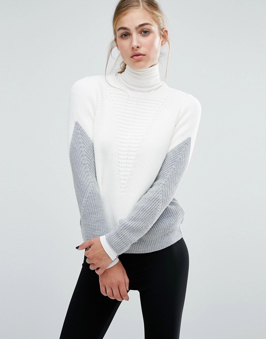 Zip Back Colourblock Jumper Multi - neckline: roll neck; style: standard; predominant colour: ivory/cream; secondary colour: mid grey; occasions: casual, creative work; length: standard; fibres: cotton - mix; fit: standard fit; sleeve length: long sleeve; sleeve style: standard; texture group: knits/crochet; pattern type: knitted - fine stitch; pattern size: standard; pattern: colourblock; season: a/w 2016