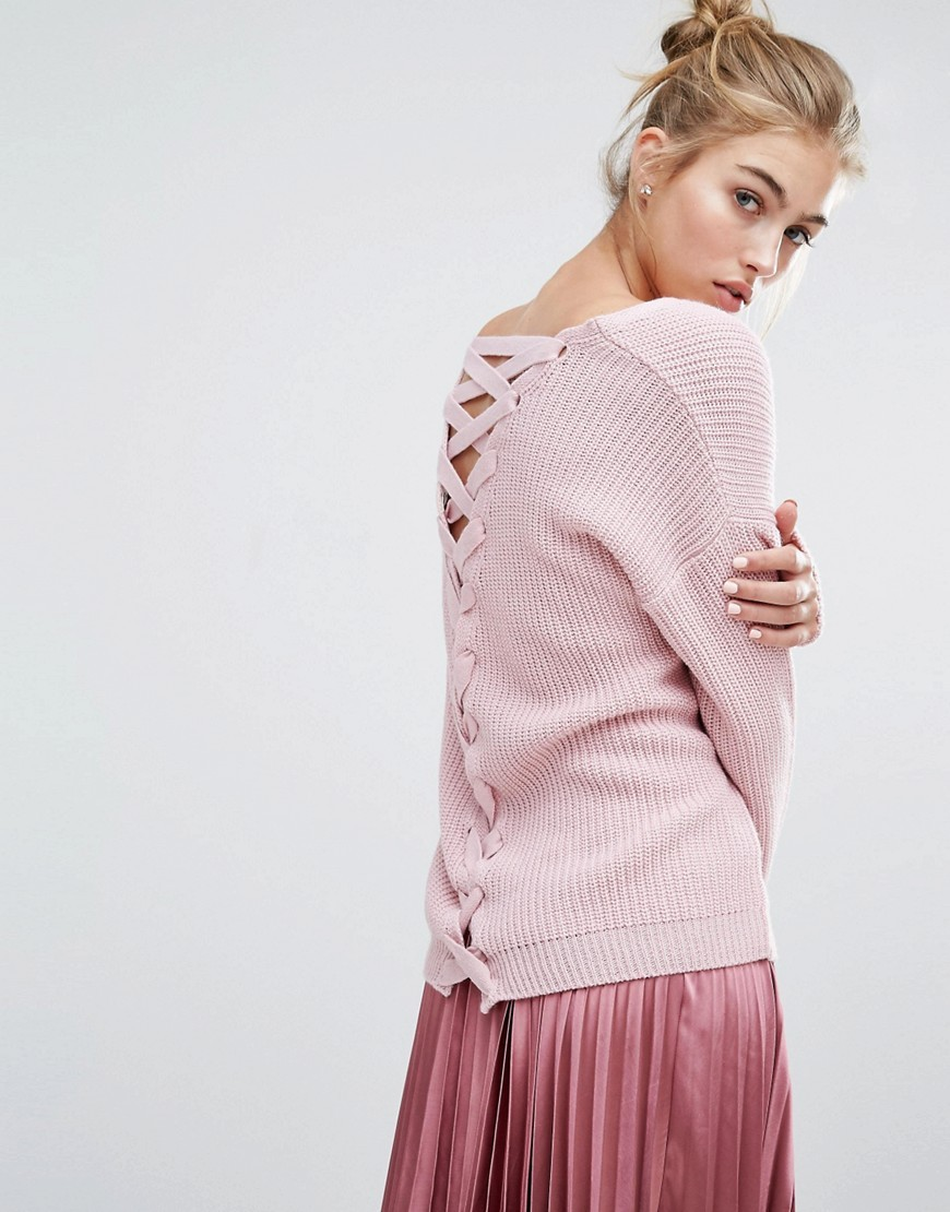 Lattice Back Jumper Pink - neckline: v-neck; pattern: plain; length: below the bottom; back detail: tie at back; style: standard; predominant colour: pink; occasions: casual, creative work; fibres: acrylic - 100%; fit: loose; sleeve length: long sleeve; sleeve style: standard; texture group: knits/crochet; pattern type: knitted - other; season: a/w 2016; wardrobe: highlight