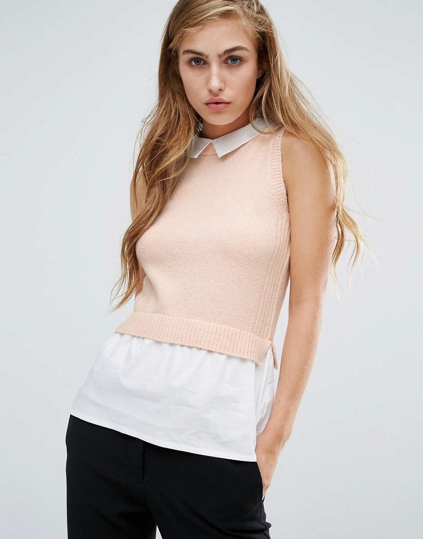Sleeveless 2 In 1 Collar Top Pink - pattern: plain; sleeve style: sleeveless; secondary colour: white; predominant colour: blush; occasions: casual; length: standard; style: top; fibres: acrylic - mix; fit: body skimming; neckline: no opening/shirt collar/peter pan; sleeve length: sleeveless; texture group: knits/crochet; pattern type: fabric; multicoloured: multicoloured; wardrobe: basic; season: a/w 2016