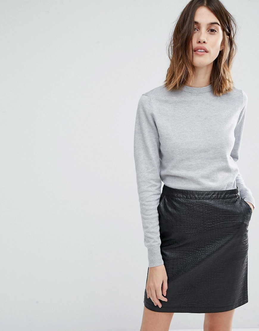 Crew Jumper Grey Marl - pattern: plain; neckline: high neck; style: standard; predominant colour: light grey; occasions: casual, creative work; length: standard; fit: standard fit; sleeve length: long sleeve; sleeve style: standard; texture group: knits/crochet; pattern type: knitted - fine stitch; fibres: viscose/rayon - mix; wardrobe: basic; season: a/w 2016