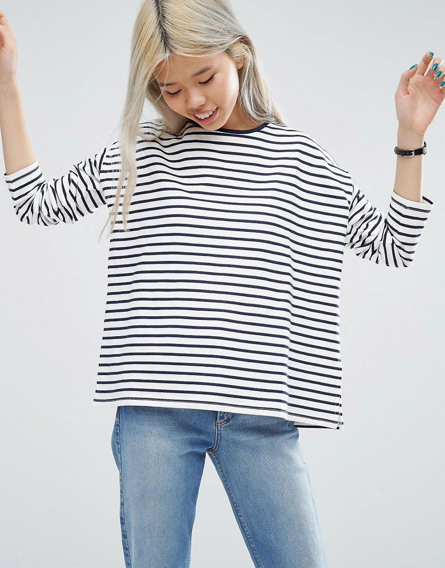 Top With Long Sleeve In Baby Loopback Stripe Cream/Navy - pattern: horizontal stripes; predominant colour: ivory/cream; secondary colour: navy; occasions: casual; length: standard; style: top; fibres: cotton - mix; fit: body skimming; neckline: crew; sleeve length: long sleeve; sleeve style: standard; pattern type: fabric; pattern size: standard; texture group: jersey - stretchy/drapey; multicoloured: multicoloured; wardrobe: basic; season: a/w 2016