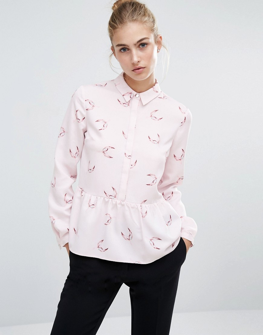 Printed Frill Hem Shirt Multi - neckline: shirt collar/peter pan/zip with opening; style: shirt; waist detail: peplum waist detail; predominant colour: blush; occasions: casual, creative work; length: standard; fibres: polyester/polyamide - 100%; fit: body skimming; sleeve length: long sleeve; sleeve style: standard; texture group: crepes; pattern type: fabric; pattern: patterned/print; season: a/w 2016
