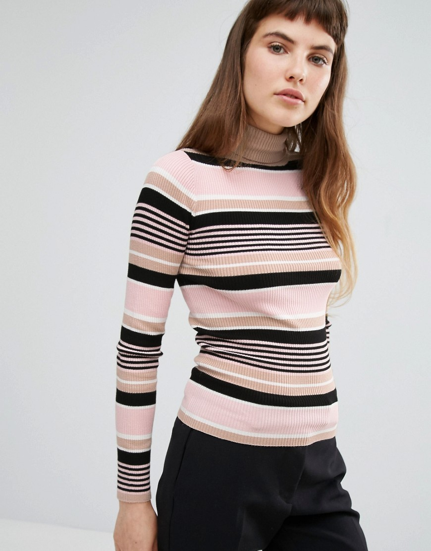 Stripe Roll Neck Jumper Pink Stripe - pattern: horizontal stripes; neckline: roll neck; style: standard; predominant colour: blush; secondary colour: black; occasions: casual, creative work; length: standard; fibres: cotton - mix; fit: slim fit; sleeve length: long sleeve; sleeve style: standard; texture group: knits/crochet; pattern type: knitted - fine stitch; multicoloured: multicoloured; season: a/w 2016