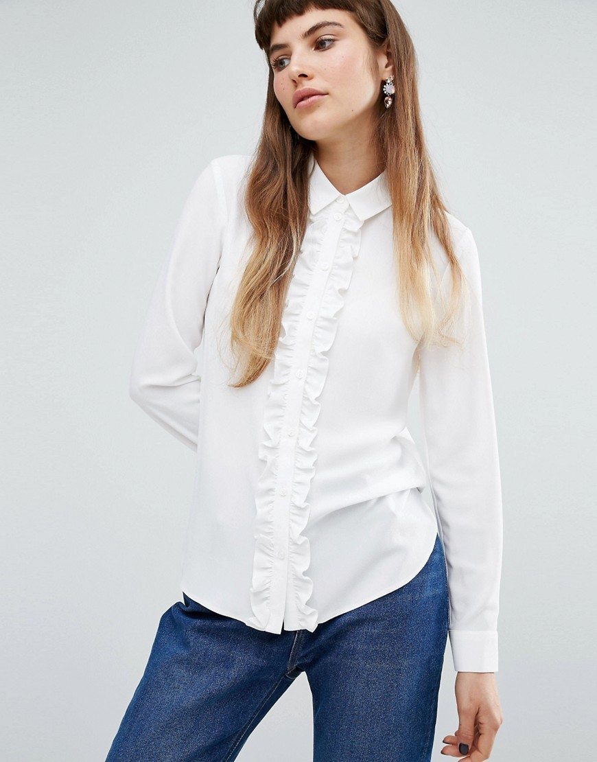Frill Front Blouse Ivory - neckline: shirt collar/peter pan/zip with opening; pattern: plain; style: shirt; predominant colour: white; occasions: casual, creative work; length: standard; fibres: polyester/polyamide - 100%; fit: body skimming; sleeve length: long sleeve; sleeve style: standard; texture group: cotton feel fabrics; bust detail: bulky details at bust; pattern type: fabric; season: a/w 2016; wardrobe: highlight