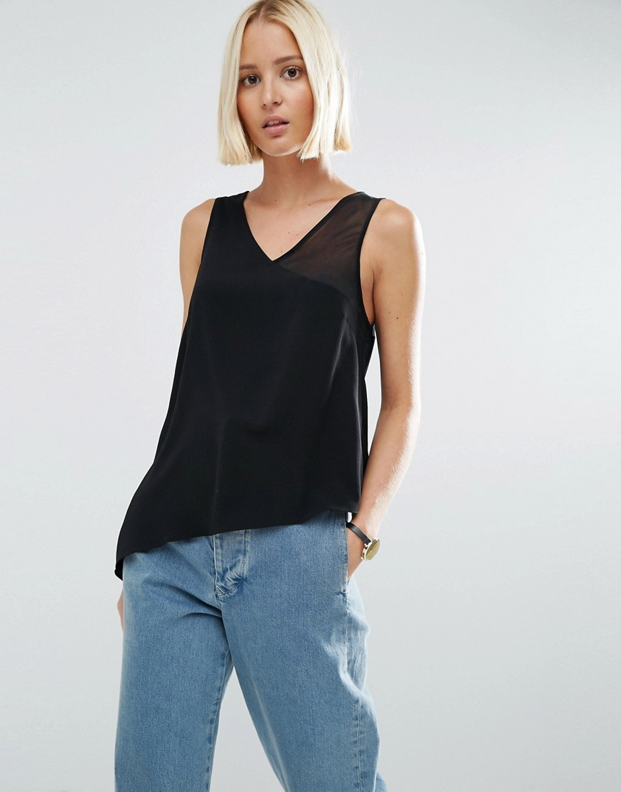 Crepe Top With Sheer One Shoulder Black - neckline: v-neck; sleeve style: standard vest straps/shoulder straps; pattern: plain; predominant colour: black; occasions: casual, creative work; length: standard; style: top; fibres: polyester/polyamide - stretch; fit: loose; sleeve length: sleeveless; texture group: sheer fabrics/chiffon/organza etc.; pattern type: fabric; wardrobe: basic; season: a/w 2016