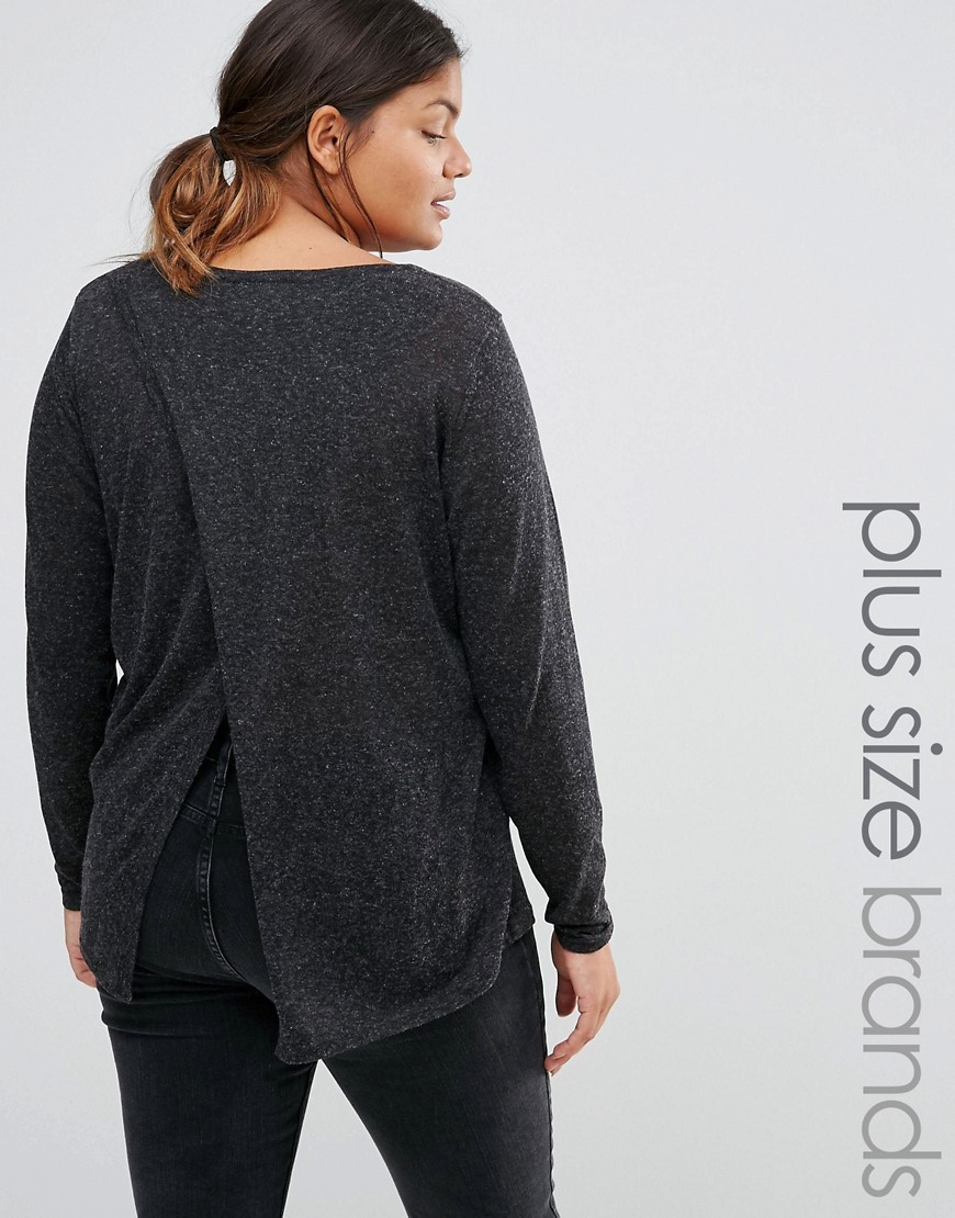 Wrap Back Knitted Jumper Black - neckline: round neck; style: standard; predominant colour: charcoal; occasions: casual; length: standard; fibres: linen - mix; fit: loose; sleeve length: long sleeve; sleeve style: standard; texture group: knits/crochet; pattern type: knitted - fine stitch; pattern: marl; wardrobe: basic; season: a/w 2016