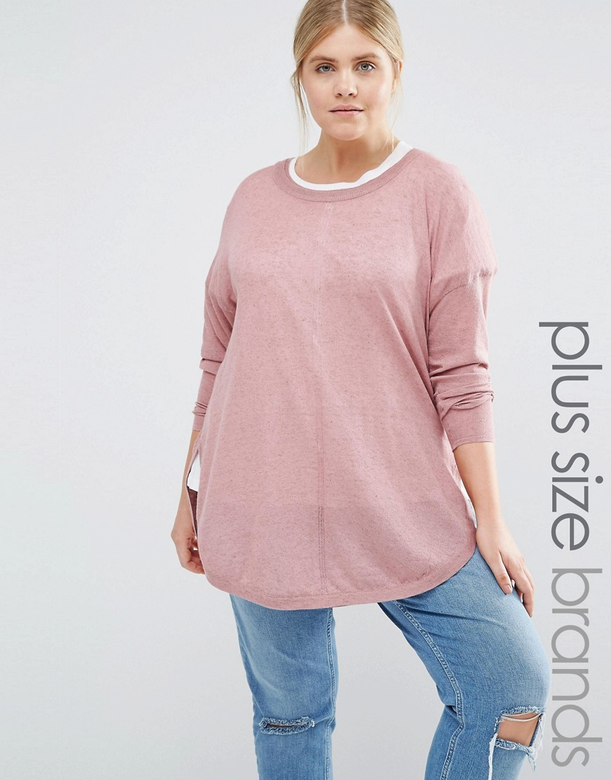 Fine Gauge Knitted Jumper Pink - pattern: plain; length: below the bottom; style: standard; predominant colour: blush; occasions: casual; fibres: polyester/polyamide - mix; fit: slim fit; neckline: crew; sleeve length: long sleeve; sleeve style: standard; texture group: knits/crochet; pattern type: fabric; wardrobe: basic; season: a/w 2016