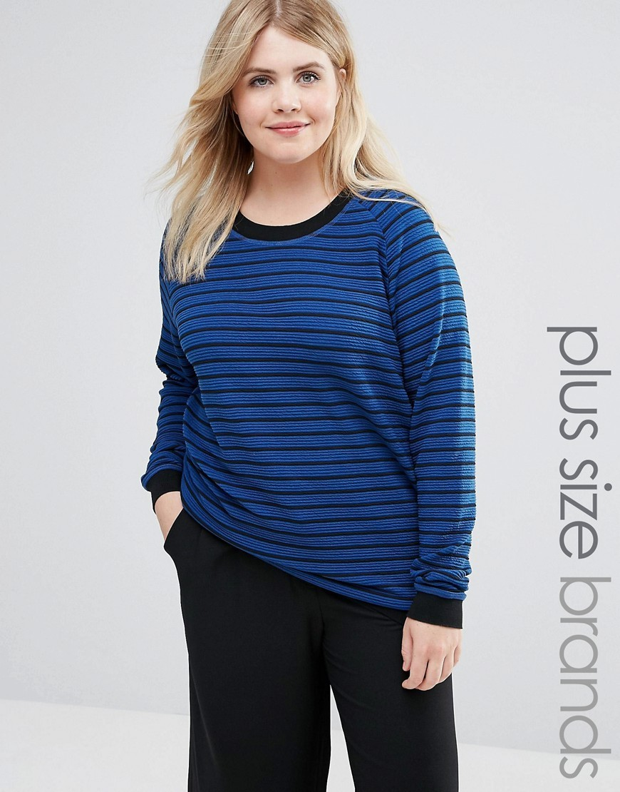 Ribbed Co Ord Sweatshirt Navy - pattern: horizontal stripes; style: sweat top; predominant colour: royal blue; secondary colour: black; occasions: casual; length: standard; fibres: polyester/polyamide - stretch; fit: body skimming; neckline: crew; sleeve length: long sleeve; sleeve style: standard; pattern type: fabric; pattern size: light/subtle; texture group: jersey - stretchy/drapey; multicoloured: multicoloured; season: a/w 2016; wardrobe: highlight
