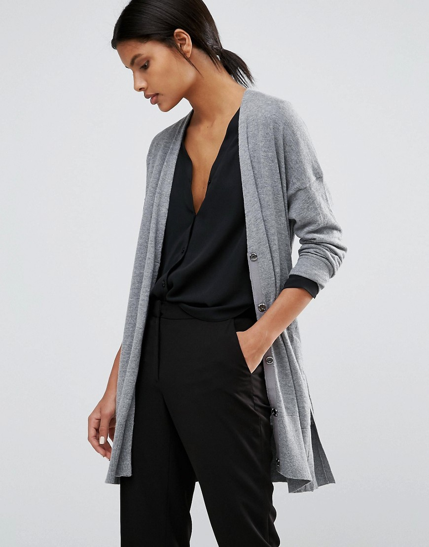 Drawstring Waist Cardigan Grey Marl - neckline: low v-neck; pattern: plain; predominant colour: mid grey; occasions: casual; style: standard; fibres: cotton - mix; fit: slim fit; length: mid thigh; sleeve length: 3/4 length; sleeve style: standard; texture group: knits/crochet; pattern type: knitted - fine stitch; wardrobe: basic; season: a/w 2016
