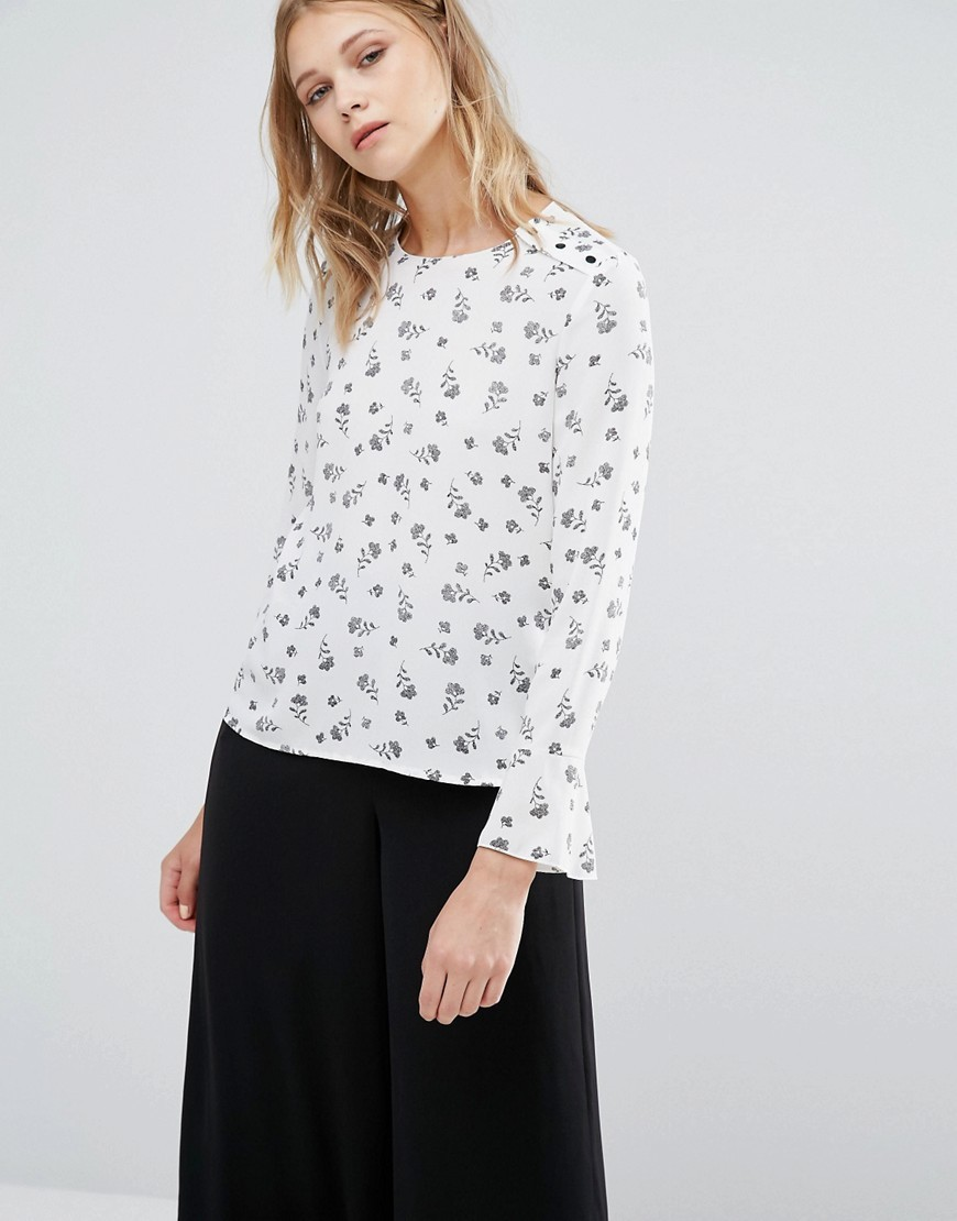 Dotty Floral Print Top White - predominant colour: white; secondary colour: mid grey; occasions: casual; length: standard; style: top; fibres: polyester/polyamide - 100%; fit: body skimming; neckline: crew; bust detail: contrast pattern/fabric/detail at bust; sleeve length: long sleeve; sleeve style: standard; pattern type: fabric; pattern: patterned/print; texture group: jersey - stretchy/drapey; multicoloured: multicoloured; season: a/w 2016