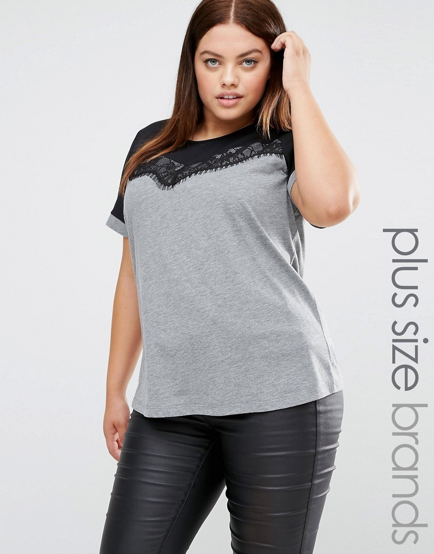 Short Sleeve Colour Block Jersey Top With Lace Overlay Grey - pattern: plain; style: t-shirt; predominant colour: light grey; secondary colour: black; occasions: casual; length: standard; fibres: cotton - stretch; fit: body skimming; neckline: crew; sleeve length: short sleeve; sleeve style: standard; pattern type: fabric; texture group: jersey - stretchy/drapey; embellishment: lace; multicoloured: multicoloured; season: a/w 2016; wardrobe: highlight