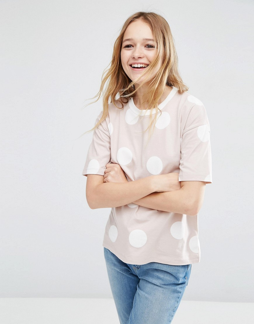 Top In Spot Print With Contrast Binding Multi - style: t-shirt; pattern: polka dot; secondary colour: white; predominant colour: stone; occasions: casual; length: standard; fibres: cotton - 100%; fit: body skimming; neckline: crew; sleeve length: short sleeve; sleeve style: standard; pattern type: fabric; texture group: jersey - stretchy/drapey; pattern size: big & busy (top); multicoloured: multicoloured; season: a/w 2016; wardrobe: highlight