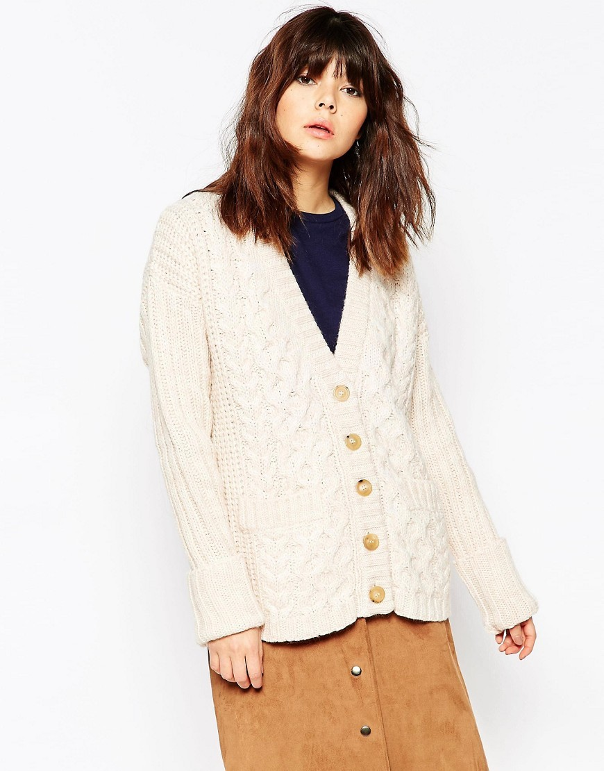 Cable Knit Cardigan Multi - neckline: v-neck; pattern: cable knit; predominant colour: ivory/cream; occasions: casual; length: standard; style: standard; fibres: wool - mix; fit: slim fit; sleeve length: long sleeve; sleeve style: standard; texture group: knits/crochet; pattern type: knitted - other; pattern size: standard; season: a/w 2016; wardrobe: highlight