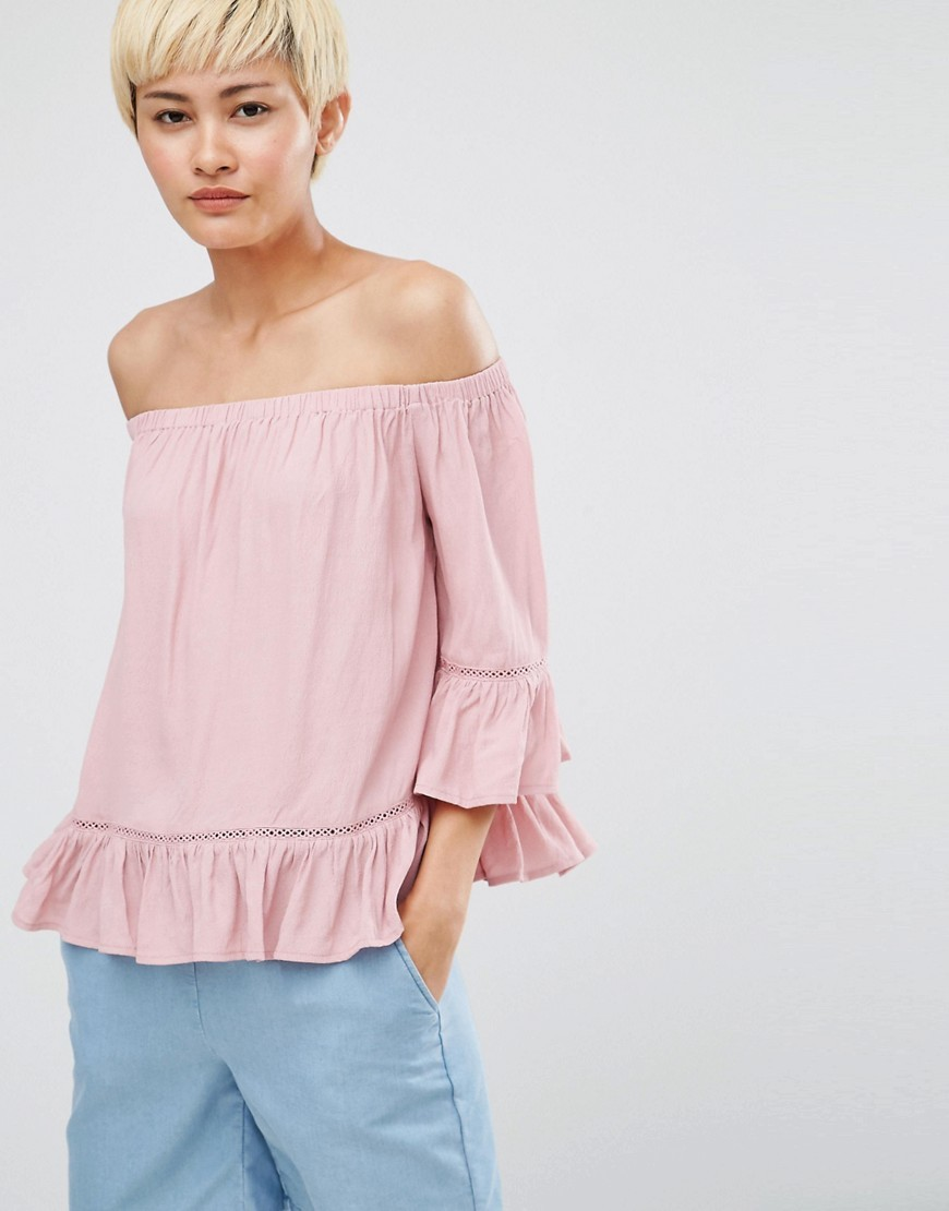 Gunta Cold Shoulder Blouse Shaded Rose - neckline: off the shoulder; pattern: plain; predominant colour: blush; occasions: casual; length: standard; style: top; fibres: viscose/rayon - 100%; fit: loose; sleeve length: 3/4 length; sleeve style: standard; texture group: crepes; bust detail: tiers/frills/bulky drapes/pleats; pattern type: fabric; season: a/w 2016; wardrobe: highlight