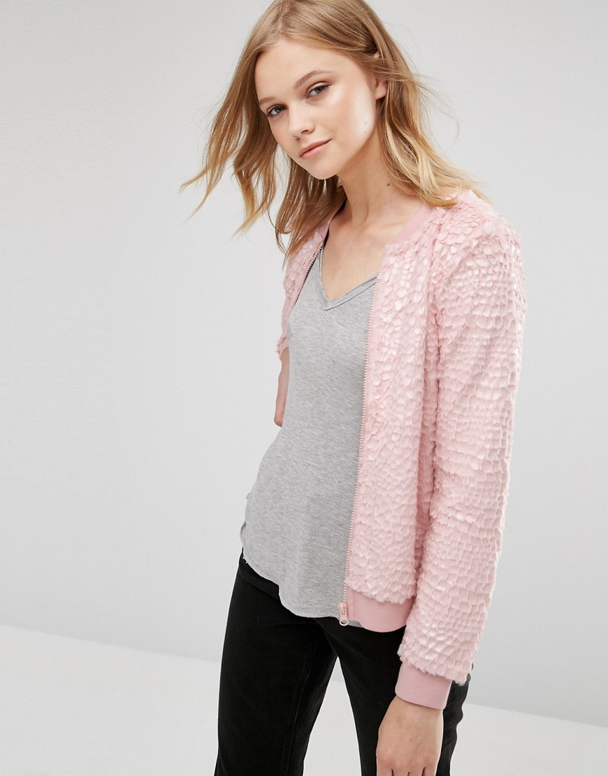 Alexa Long Sleeve Bomber Rose Smoke - pattern: plain; collar: round collar/collarless; style: bomber; predominant colour: blush; occasions: casual, creative work; length: standard; fit: straight cut (boxy); fibres: polyester/polyamide - 100%; sleeve length: long sleeve; sleeve style: standard; collar break: high; pattern type: fabric; texture group: woven light midweight; wardrobe: basic; season: a/w 2016