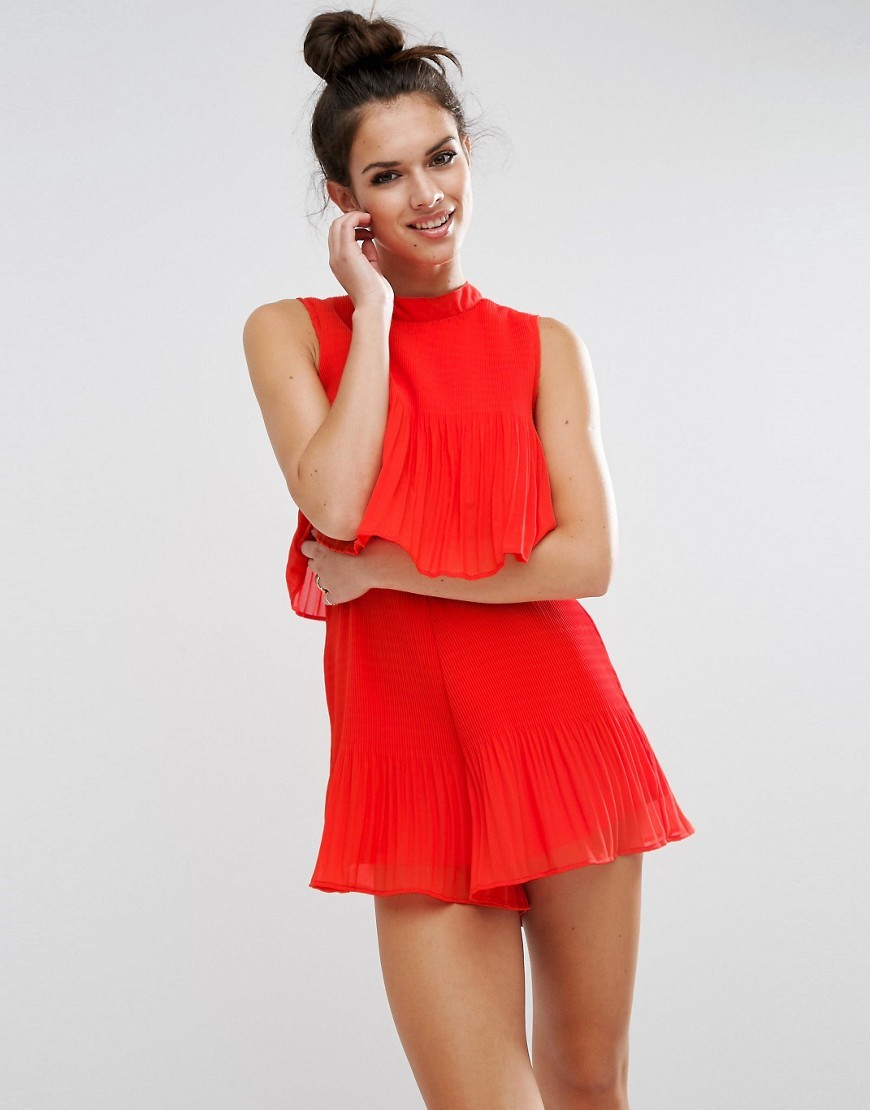 Double Layer Pleated Playsuit Red - pattern: plain; sleeve style: sleeveless; neckline: high neck; length: short shorts; predominant colour: true red; occasions: evening, occasion; fit: straight cut; fibres: polyester/polyamide - 100%; sleeve length: sleeveless; texture group: sheer fabrics/chiffon/organza etc.; style: playsuit; bust detail: bulky details at bust; pattern type: fabric; season: a/w 2016; wardrobe: event