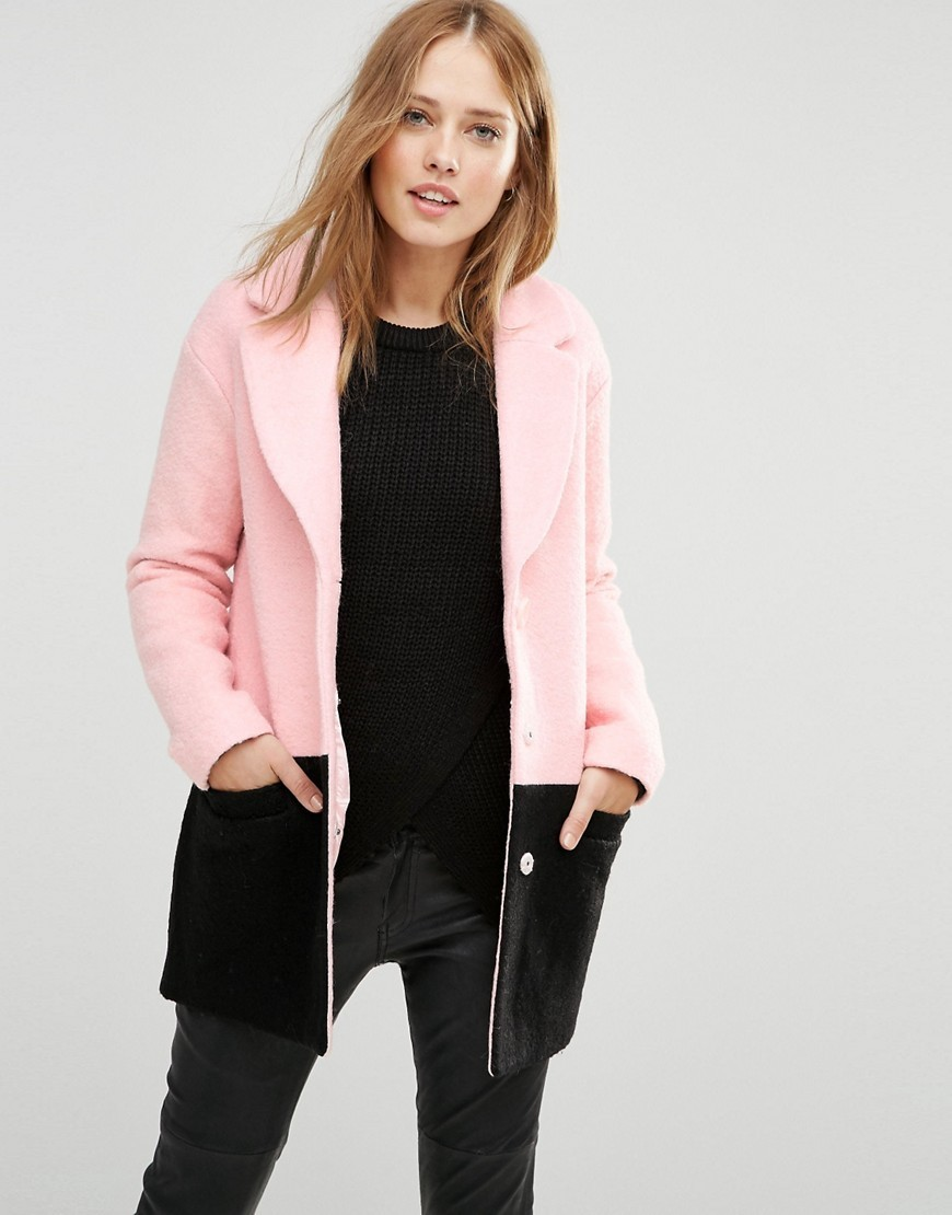 Colour Block Coat Pink /Black - length: standard; collar: wide lapels; style: single breasted; predominant colour: blush; secondary colour: black; occasions: casual, creative work; fit: straight cut (boxy); fibres: wool - mix; sleeve length: long sleeve; sleeve style: standard; collar break: medium; pattern type: fabric; pattern size: light/subtle; pattern: colourblock; texture group: woven bulky/heavy; season: a/w 2016; wardrobe: highlight