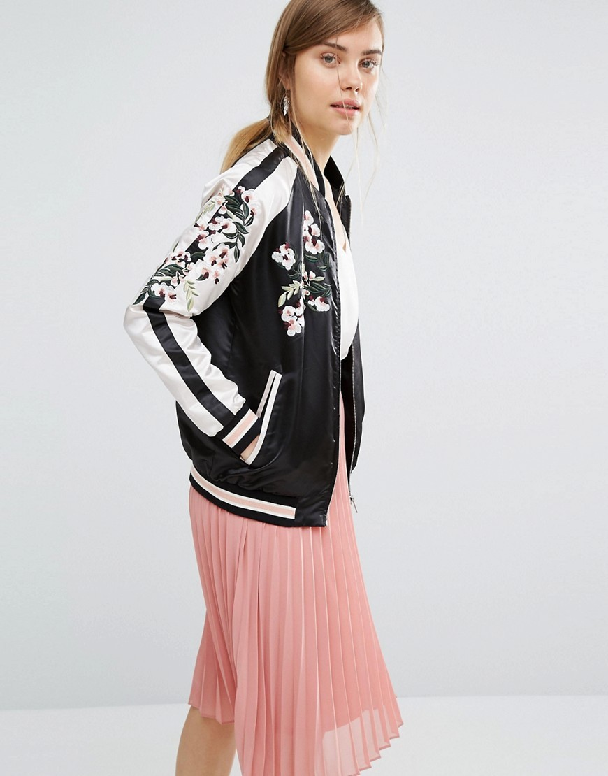 Satin Embroidered Bomber Jacket Multi - collar: round collar/collarless; style: bomber; secondary colour: blush; predominant colour: black; occasions: casual, creative work; length: standard; fit: straight cut (boxy); fibres: polyester/polyamide - 100%; sleeve length: long sleeve; sleeve style: standard; texture group: silky - light; collar break: high; pattern type: fabric; pattern size: standard; pattern: florals; embellishment: embroidered; season: a/w 2016; wardrobe: highlight; embellishment location: bust, sleeve/cuff