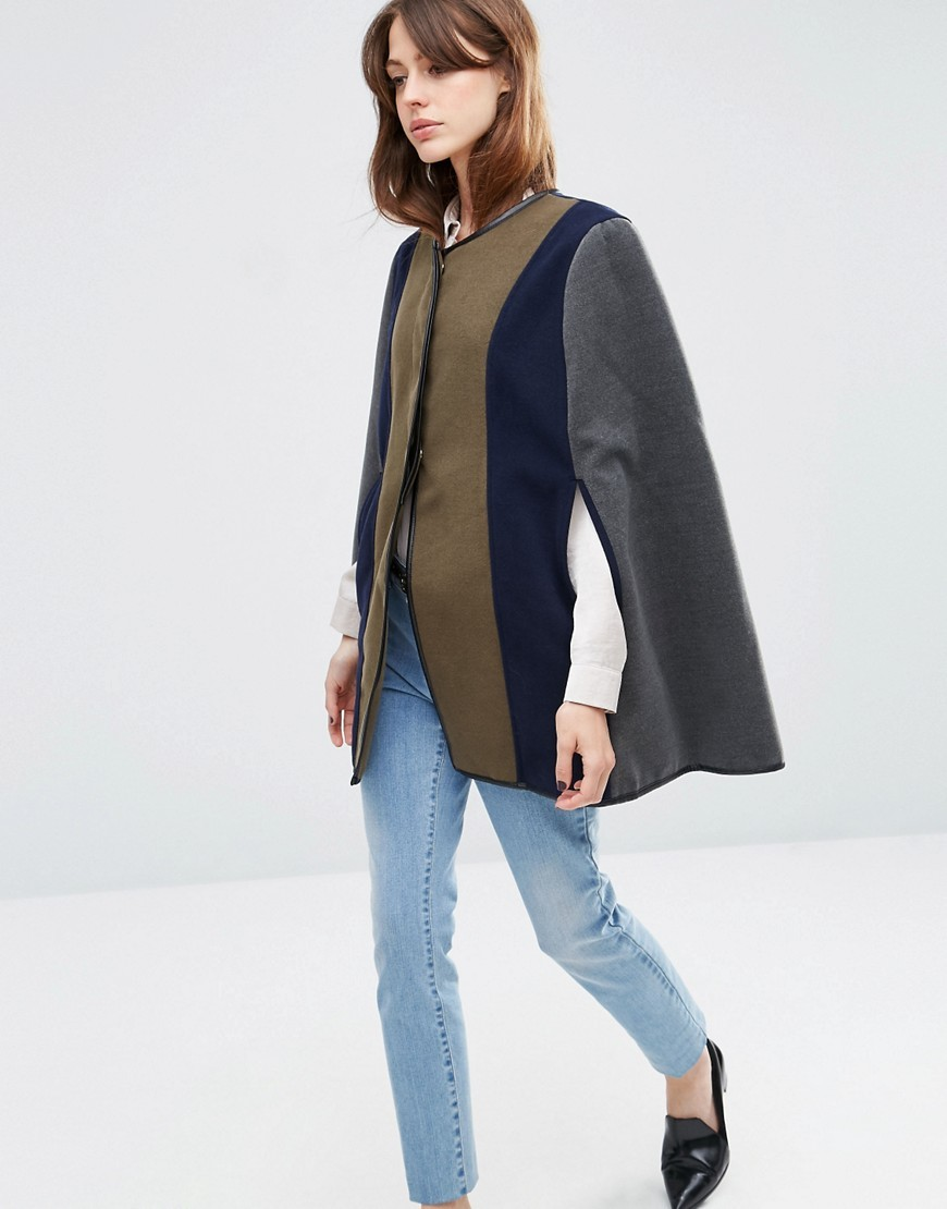 Colour Block Cape Multi - length: below the bottom; collar: round collar/collarless; fit: loose; style: cape; secondary colour: navy; predominant colour: khaki; occasions: casual; fibres: wool - mix; sleeve length: 3/4 length; texture group: knits/crochet; collar break: high; pattern type: knitted - fine stitch; pattern: colourblock; sleeve style: cape/poncho sleeve; multicoloured: multicoloured; season: a/w 2016