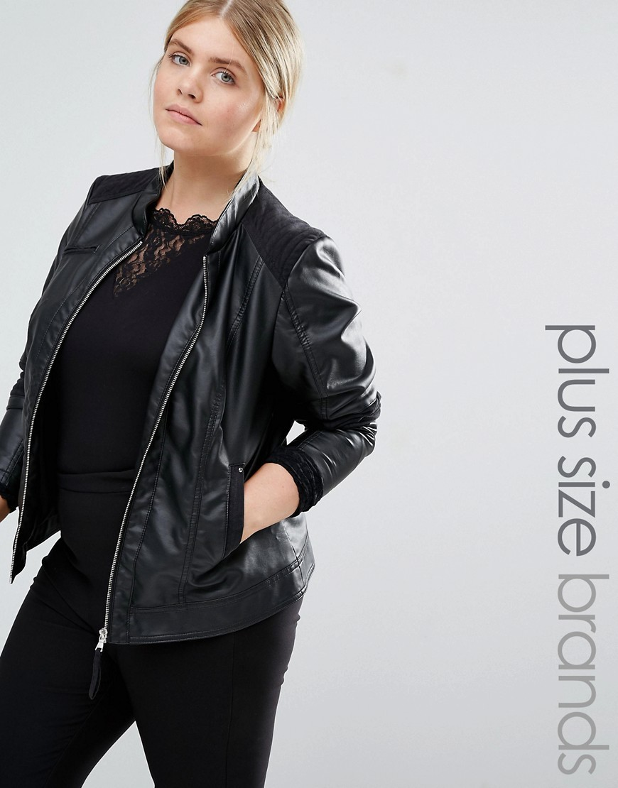 Leather Look Biker Jacket Black - pattern: plain; collar: round collar/collarless; style: bomber; predominant colour: black; occasions: casual, creative work; length: standard; fit: straight cut (boxy); fibres: polyester/polyamide - 100%; sleeve length: long sleeve; sleeve style: standard; texture group: leather; collar break: high; pattern type: fabric; wardrobe: basic; season: a/w 2016