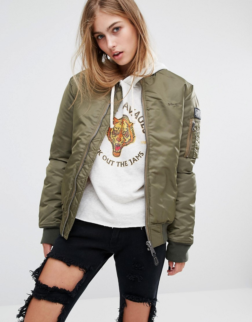 Aireforce 1 Bomber Jacket With Woven Badge On Arm Khaki - sleeve style: puffed; collar: round collar/collarless; style: bomber; predominant colour: khaki; occasions: casual; length: standard; fit: straight cut (boxy); fibres: polyester/polyamide - 100%; sleeve length: long sleeve; collar break: high; pattern type: fabric; pattern size: standard; pattern: colourblock; texture group: other - bulky/heavy; season: a/w 2016; wardrobe: highlight