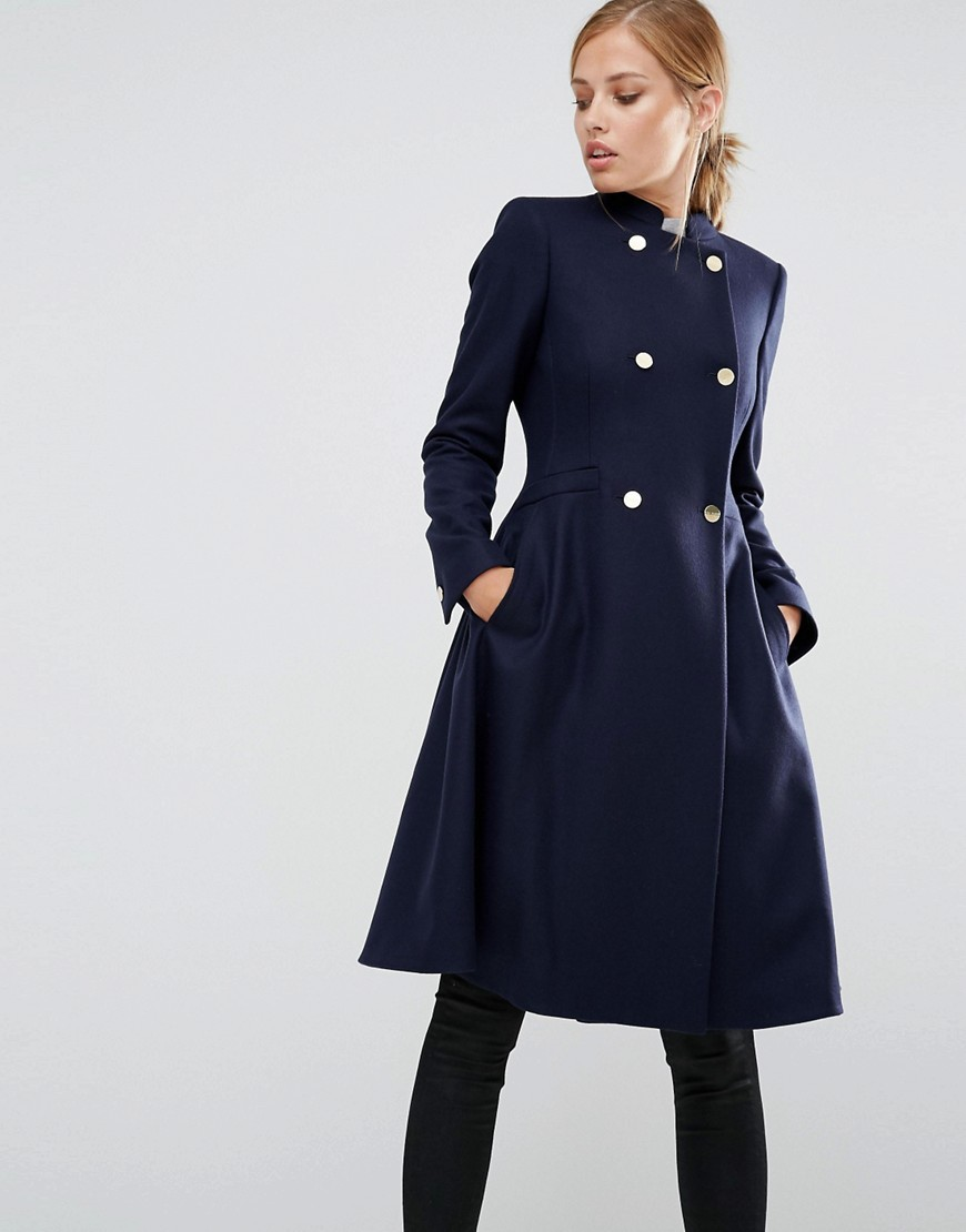 Indego Fit And Flare Coat Navy - pattern: plain; style: double breasted; length: on the knee; collar: high neck; fit: slim fit; predominant colour: navy; occasions: casual; fibres: wool - mix; sleeve length: long sleeve; sleeve style: standard; collar break: high; pattern type: fabric; texture group: woven bulky/heavy; wardrobe: basic; season: a/w 2016