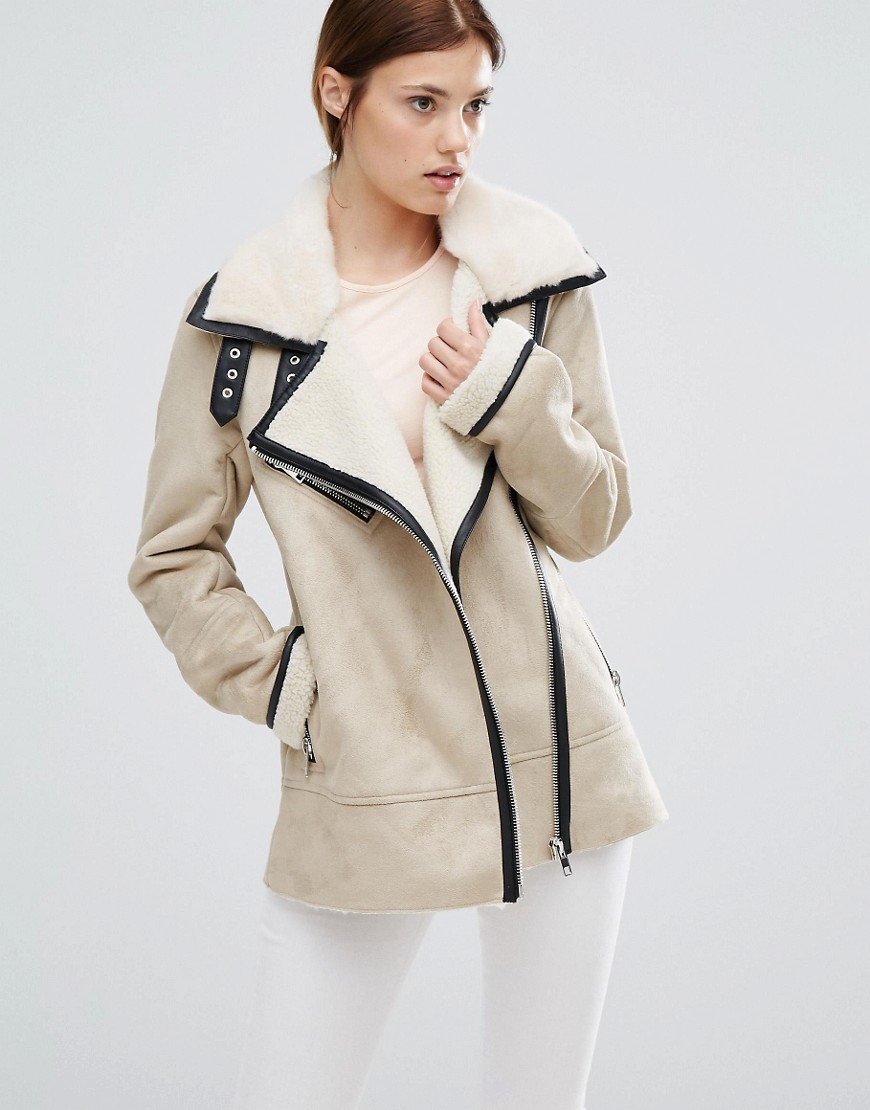 Suedette Jacket Multi - pattern: plain; style: biker; collar: asymmetric biker; fit: slim fit; secondary colour: ivory/cream; predominant colour: stone; occasions: casual; length: standard; fibres: polyester/polyamide - 100%; sleeve length: long sleeve; sleeve style: standard; collar break: medium; pattern type: fabric; texture group: suede; multicoloured: multicoloured; wardrobe: basic; season: a/w 2016