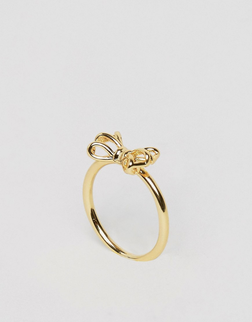 Tiny Geo Bow Ring Gold - predominant colour: gold; occasions: evening; style: band; size: standard; material: chain/metal; finish: metallic; embellishment: bow; season: a/w 2016; wardrobe: event