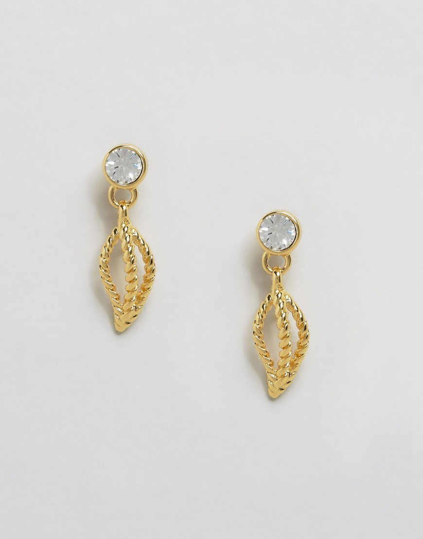 Rope Leaf Drop Earrings Gold - predominant colour: gold; occasions: evening, occasion; style: drop; length: long; size: standard; material: chain/metal; fastening: pierced; finish: metallic; embellishment: crystals/glass; season: a/w 2016; wardrobe: event