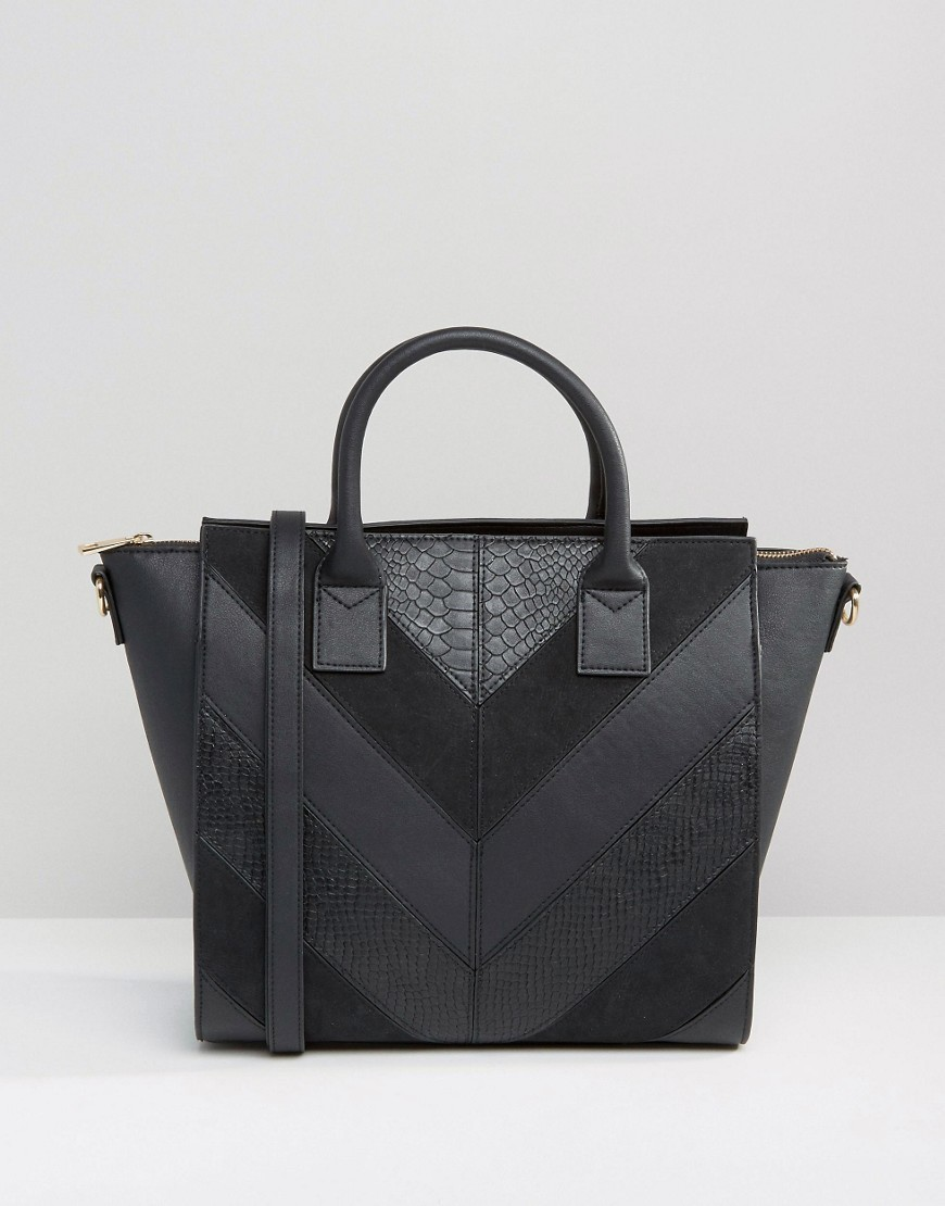 Chevron Panel Wing Tote Bag Black - predominant colour: black; occasions: casual, creative work; type of pattern: standard; style: tote; length: handle; size: standard; material: leather; pattern: plain; finish: plain; wardrobe: investment; season: a/w 2016