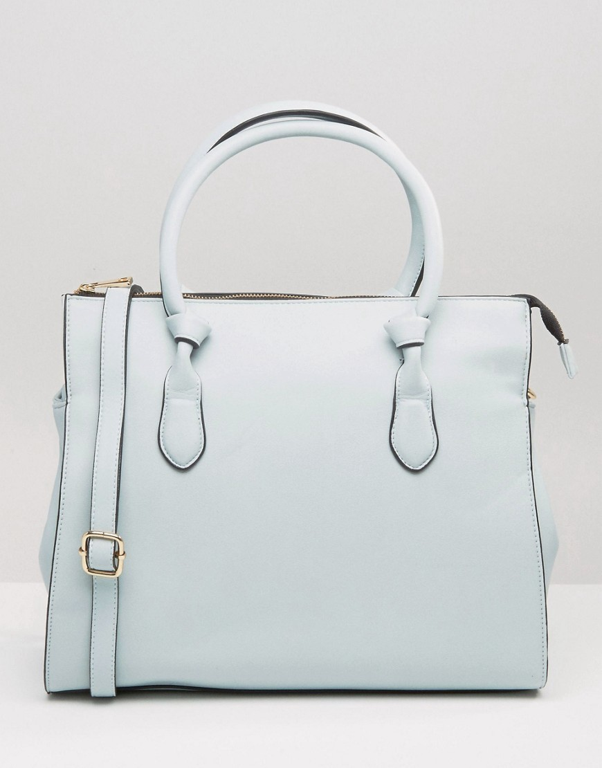 Knot Detail Tote Bag Pale Blue - predominant colour: pale blue; occasions: casual, creative work; type of pattern: standard; style: tote; length: handle; size: standard; material: faux leather; pattern: plain; finish: plain; season: a/w 2016; wardrobe: highlight