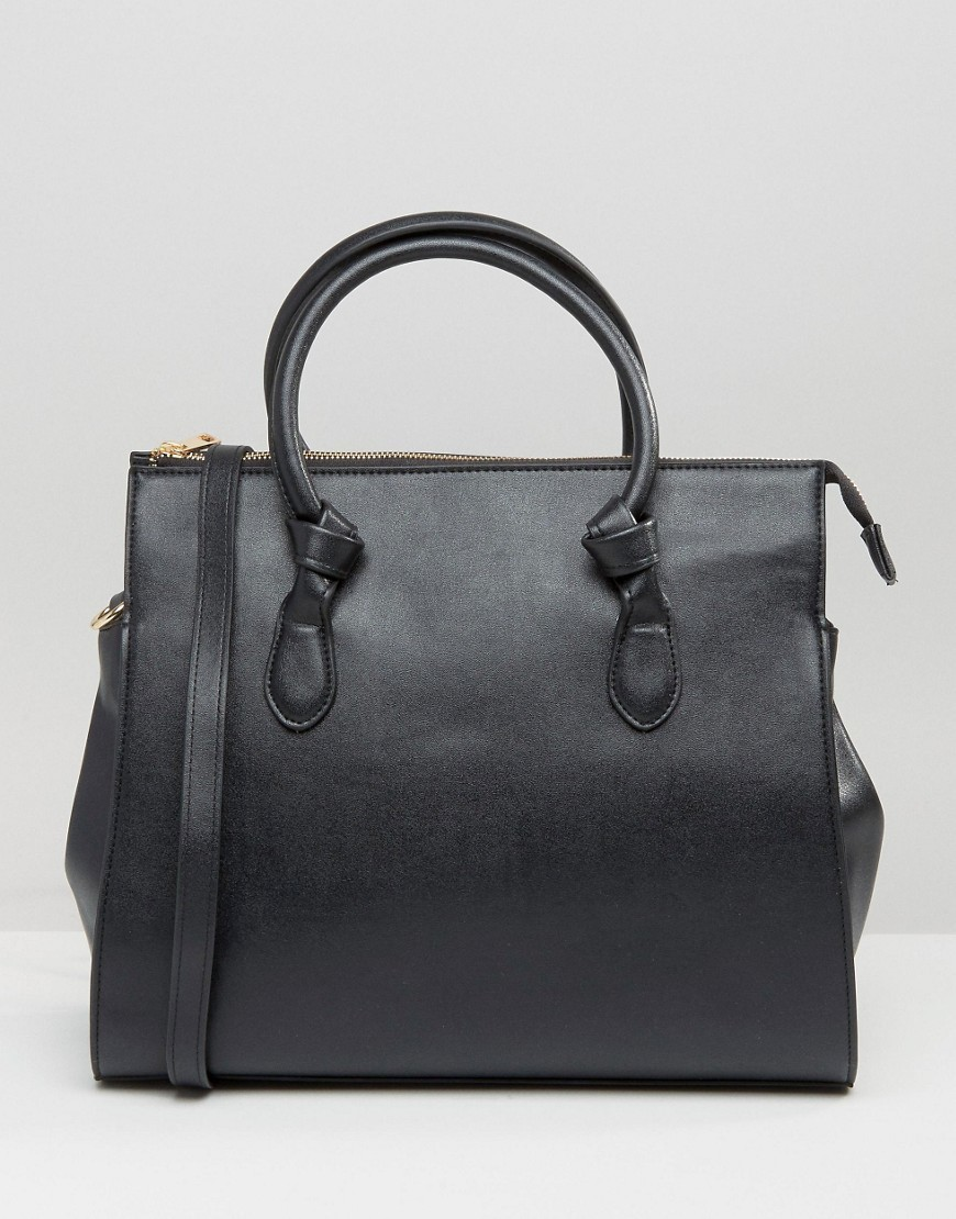 Knot Detail Tote Bag Black - predominant colour: black; occasions: casual, work, creative work; type of pattern: standard; style: tote; length: handle; size: standard; material: faux leather; pattern: plain; finish: plain; wardrobe: investment; season: a/w 2016
