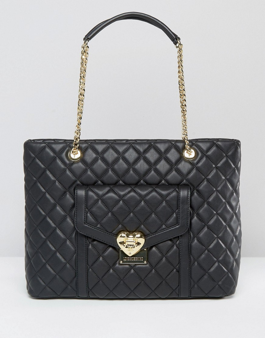 Quilted Chain Strap Shoulder Bag Black - secondary colour: gold; predominant colour: black; occasions: casual, work, creative work; type of pattern: standard; style: tote; length: shoulder (tucks under arm); size: standard; material: faux leather; embellishment: quilted; pattern: plain; finish: plain; wardrobe: investment; season: a/w 2016