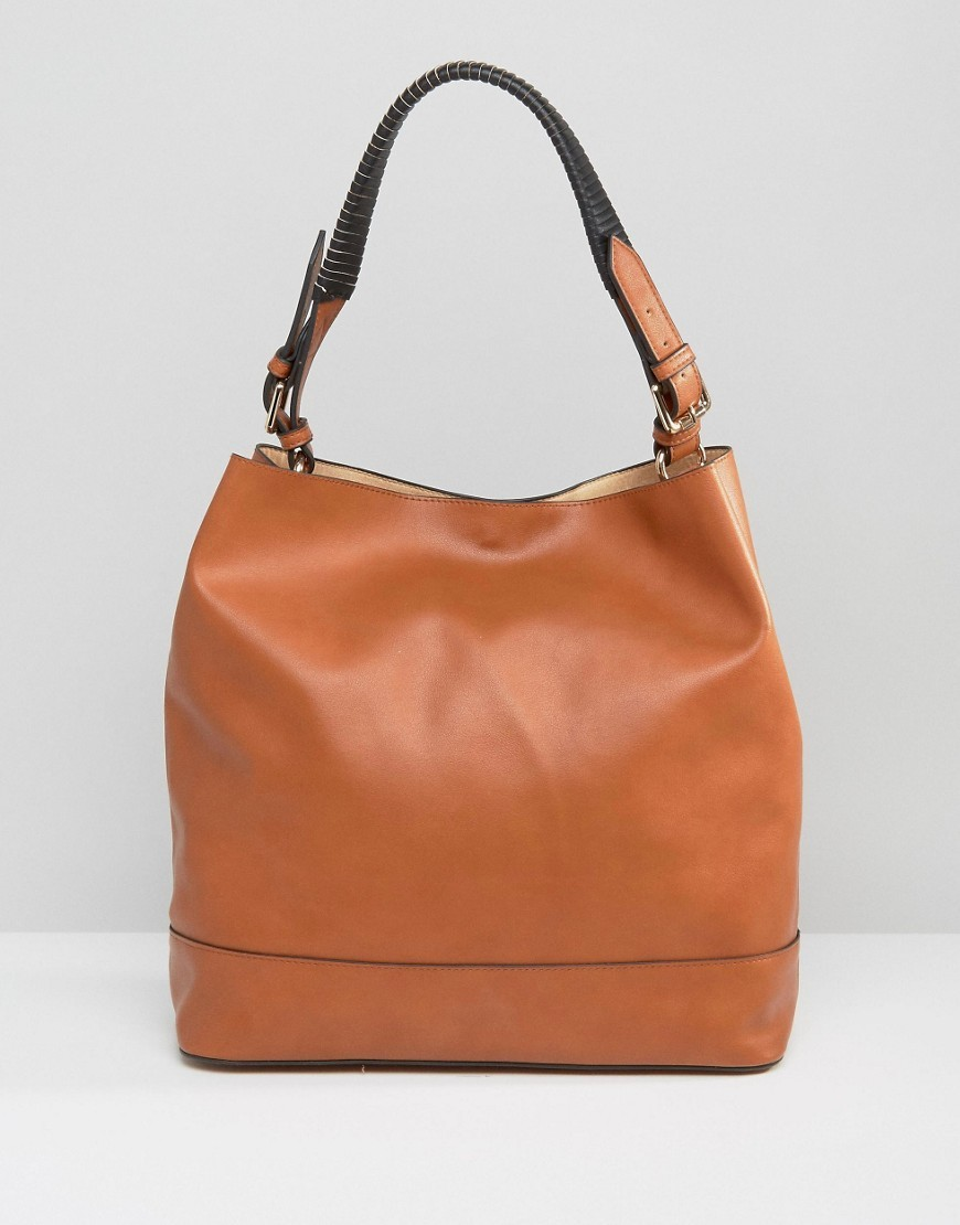 Slouchy Bag With Wrap Detail Handle Tan - predominant colour: tan; occasions: casual, creative work; type of pattern: standard; length: shoulder (tucks under arm); size: standard; material: faux leather; pattern: plain; finish: plain; style: hobo; season: a/w 2016; wardrobe: highlight
