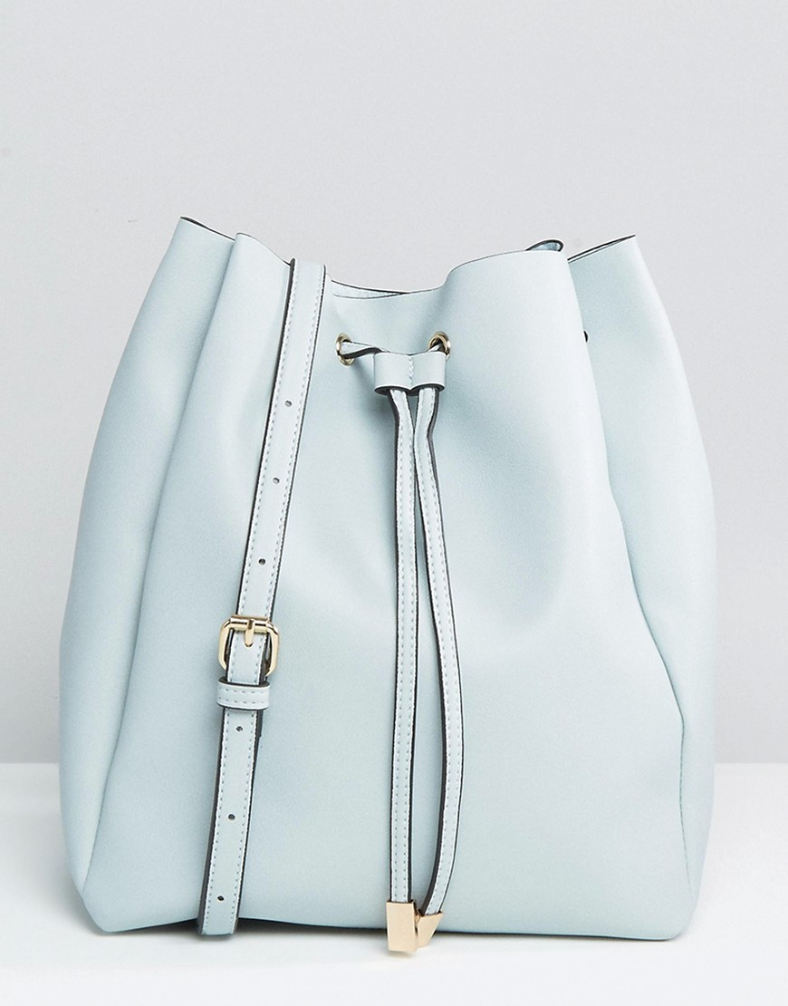 Minimal Drawstring Shoulder Bag Pale Blue - predominant colour: pale blue; occasions: casual, creative work; type of pattern: standard; style: onion bag; length: across body/long; size: standard; material: faux leather; pattern: plain; finish: plain; season: a/w 2016; wardrobe: highlight