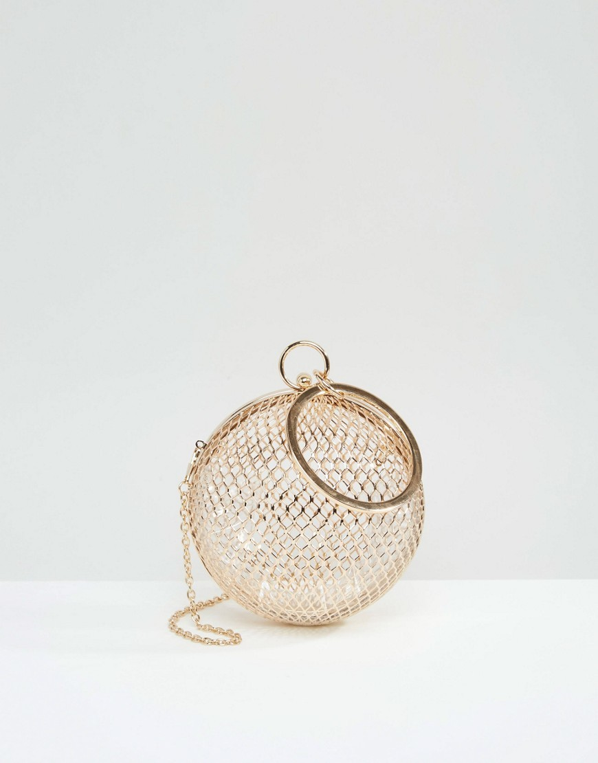 Cage Sphere Clutch Bag Gold - predominant colour: gold; occasions: evening; type of pattern: standard; style: clutch; length: handle; size: small; material: plastic/rubber; pattern: plain; finish: metallic; season: a/w 2016; wardrobe: event