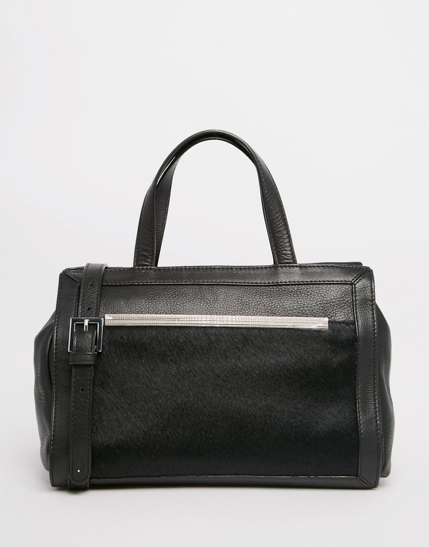 Leather Tote Bag Black - predominant colour: black; occasions: casual, creative work; type of pattern: standard; style: tote; length: handle; size: standard; material: leather; pattern: plain; finish: plain; wardrobe: investment; season: a/w 2016