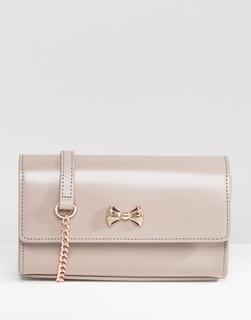 Leather Simple Cross Body Bag In Pale Purple Mid Purple - occasions: evening, occasion; type of pattern: standard; style: clutch; length: hand carry; size: standard; material: leather; pattern: plain; finish: plain; embellishment: bow; predominant colour: dusky pink; season: a/w 2016; wardrobe: event