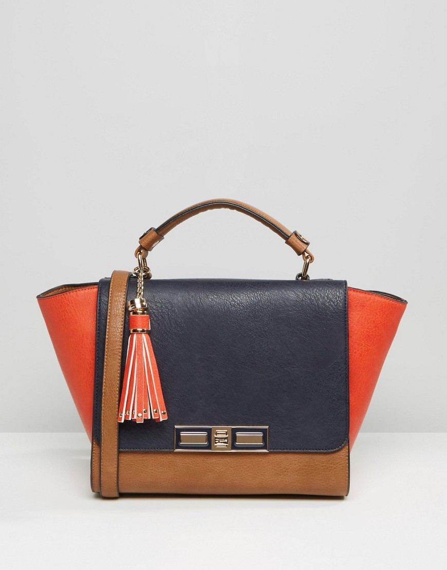 Colour Block Winged Tote Bag Navy/Tan/Tomatoe - secondary colour: true red; predominant colour: navy; occasions: casual, creative work; type of pattern: light; style: tote; length: handle; size: standard; material: faux leather; finish: plain; pattern: colourblock; season: a/w 2016; wardrobe: highlight