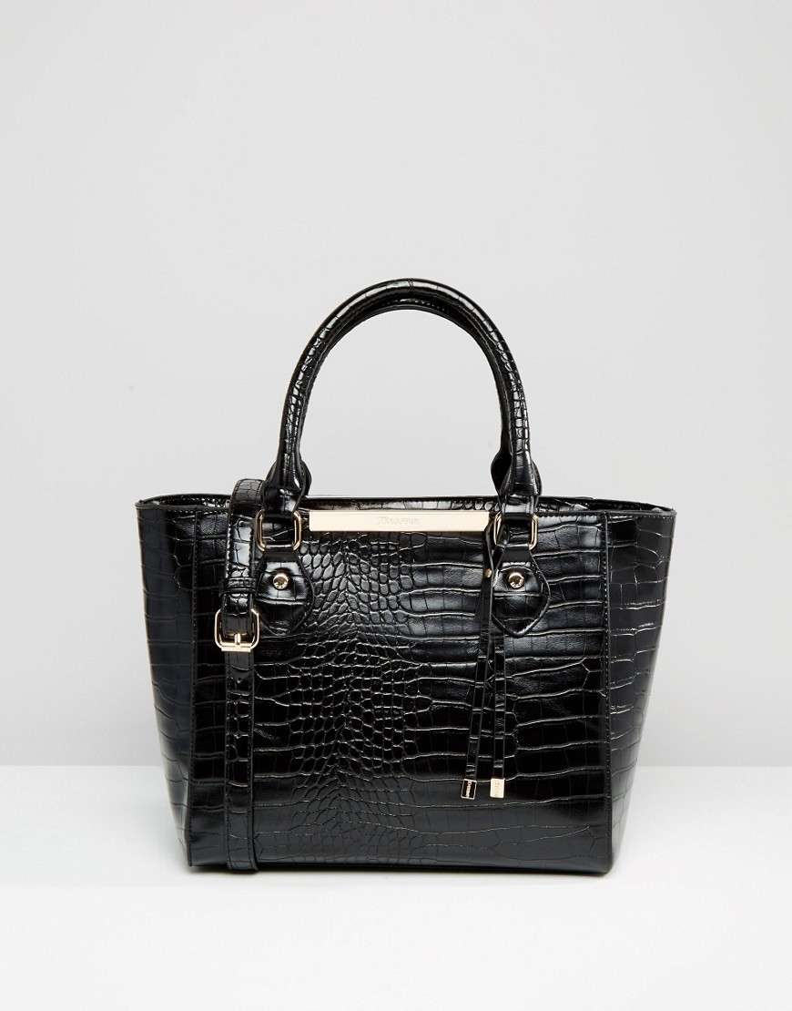 Mock Croc Tote Bag Black Croc - predominant colour: black; occasions: casual; type of pattern: standard; style: tote; length: shoulder (tucks under arm); size: oversized; material: faux leather; pattern: plain; finish: plain; wardrobe: investment; season: a/w 2016