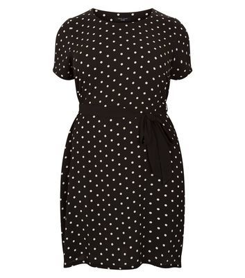 Curves Black Spot Print Belted Dress - style: shift; length: mid thigh; pattern: polka dot; waist detail: belted waist/tie at waist/drawstring; secondary colour: white; predominant colour: black; occasions: casual; fit: body skimming; fibres: polyester/polyamide - stretch; neckline: crew; sleeve length: short sleeve; sleeve style: standard; pattern type: fabric; texture group: jersey - stretchy/drapey; multicoloured: multicoloured; season: a/w 2016; wardrobe: highlight