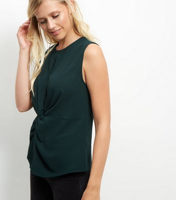 Dark Green Twist Front Sleeveless Top - pattern: plain; sleeve style: sleeveless; waist detail: flattering waist detail; predominant colour: dark green; occasions: casual; length: standard; style: top; fibres: polyester/polyamide - stretch; fit: body skimming; neckline: crew; sleeve length: sleeveless; texture group: crepes; pattern type: fabric; season: a/w 2016; wardrobe: highlight