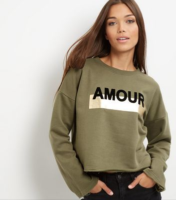 Khaki Amour Print Foil Panel Sweater - style: standard; predominant colour: khaki; secondary colour: black; occasions: casual; length: standard; fibres: polyester/polyamide - mix; fit: loose; neckline: crew; sleeve length: long sleeve; sleeve style: standard; pattern type: fabric; texture group: jersey - stretchy/drapey; pattern: graphic/slogan; multicoloured: multicoloured; season: a/w 2016; wardrobe: highlight