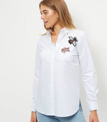 White Badge Embroidered Shirt - neckline: shirt collar/peter pan/zip with opening; pattern: plain; style: shirt; predominant colour: white; occasions: casual, creative work; length: standard; fibres: cotton - 100%; fit: body skimming; sleeve length: long sleeve; sleeve style: standard; texture group: cotton feel fabrics; pattern type: fabric; embellishment: embroidered; season: a/w 2016; wardrobe: highlight; embellishment location: bust