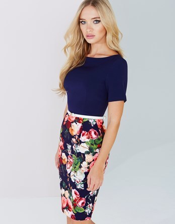 Top Floral Dress - neckline: round neck; fit: tight; style: bodycon; secondary colour: pink; predominant colour: navy; occasions: evening; length: on the knee; fibres: polyester/polyamide - stretch; hip detail: subtle/flattering hip detail; sleeve length: short sleeve; sleeve style: standard; texture group: jersey - clingy; pattern type: fabric; pattern: florals; multicoloured: multicoloured; season: a/w 2016; wardrobe: event