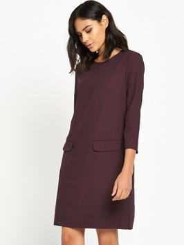 Pocket Front Crepe Dress - style: shift; neckline: round neck; pattern: plain; predominant colour: aubergine; occasions: work, creative work; length: just above the knee; fit: straight cut; fibres: polyester/polyamide - 100%; sleeve length: 3/4 length; sleeve style: standard; texture group: crepes; pattern type: fabric; embellishment: fur; season: a/w 2016; wardrobe: highlight; embellishment location: hip