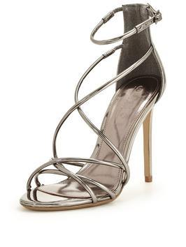 Spindle Barely There Cross Over Sandal - predominant colour: silver; occasions: evening, occasion; material: faux leather; heel height: high; ankle detail: ankle strap; heel: stiletto; toe: open toe/peeptoe; style: strappy; finish: metallic; pattern: plain; season: a/w 2016