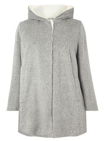 Grey Relaxed Hooded Coat - length: below the bottom; collar: funnel; style: single breasted; back detail: hood; pattern: herringbone/tweed; predominant colour: light grey; occasions: casual; fit: straight cut (boxy); fibres: polyester/polyamide - 100%; sleeve length: long sleeve; sleeve style: standard; collar break: high; pattern type: fabric; pattern size: light/subtle; texture group: woven bulky/heavy; wardrobe: basic; season: a/w 2016